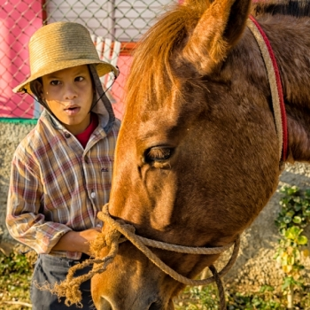 Young boy on the outskirts of town was happy to bring his horse in and stop for us to photograph.