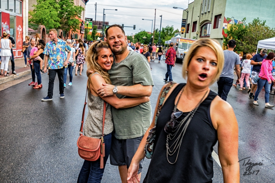 The couple had asked me to take their picture and the inadvertent photo-bomber realized it at the last second. Caught ya!