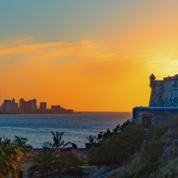 Panoramic sunset over Havana Harbor from La Cabaña
